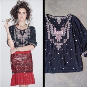 Anthropologie | Stitched Medallion Top